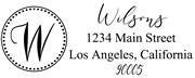 Solid Line and Dot Border Letter W Monogram Stamp Sample