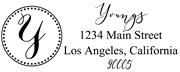 Solid Line and Dot Border Letter Y Monogram Stamp Sample