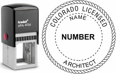 Customize and order a Colorado architect stamp online! Personalize, preview instantly, meets all requirements for Colorado professional architects, self-inking stamp with ink refills available. No minimums, fast turnaround, quality guaranteed.