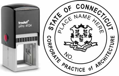 Customize and order a Connecticut corporate architect stamp online! Personalize, preview instantly, meets all requirements for Connecticut professional corporate architects, self-inking stamp with ink refills available. No minimums, fast turnaround, quali