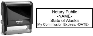 Customize and order a self-inking notary rubber stamp for the state of Alaska.  Meets all specifications and requirements for Alaska notary stamps.
