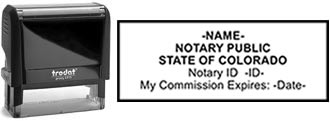 Customize and order a self-inking notary rubber stamp for the state of Colorado.  Meets all specifications and requirements for Colorado notary stamps.