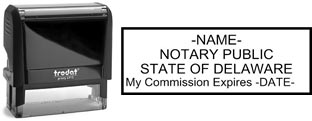 Customize and order a self-inking notary rubber stamp for the state of Delaware.  Meets all specifications and requirements for Delaware notary stamps.