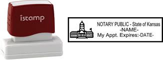 Customize and order a pre-inked notary stamp for the state of Kansas.  Meets all specifications and requirements for Kansas notary stamps.