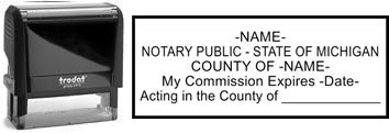 Customize and order a notary stamp for the state of Michigan. Meets all specifications and requirements for Michigan notary stamps.