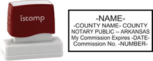 Customize and order a notary stamp for the state of Arkansas.  Meets all specifications and requirements for Arkansas notary stamps.