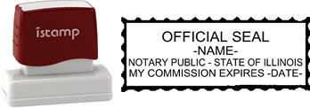 Customize and order a pre-inked notary stamp for the state of Illinois.  Meets all specifications and requirements for Illinois notary stamps.