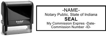 Customize and order a self-inking notary rubber stamp for the state of Indiana.  Meets all specifications and requirements for Indiana notary stamps.