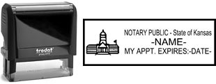 Customize and order a self-inking notary rubber stamp for the state of Kansas.  Meets all specifications and requirements for Kansas notary stamps.