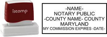 Customize and order a pre-inked notary stamp for the state of Maryland.  Meets all specifications and requirements for Maryland notary stamps.