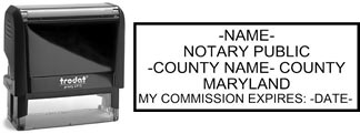 Customize and order a self-inking notary rubber stamp for the state of Maryland.  Meets all specifications and requirements for Maryland notary stamps.