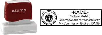 Customize and order a pre-inked notary stamp for the state of Massachusetts.  Meets all specifications and requirements for Massachusetts notary stamps.