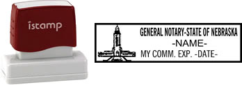 Customize and order a ore-inked notary stamp for the state of Nebraska.  Meets all specifications and requirements for Nebraska notary stamps.
