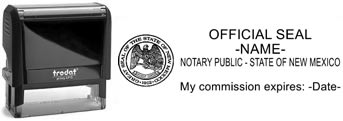 Customize and order a self-inking notary rubber stamp for the state of New Mexico.  Meets all specifications and requirements for New Mexico notary stamps.