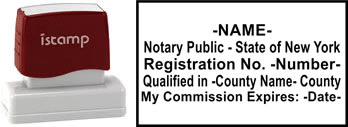 Customize and order a pre-inked notary stamp for the state of New York.  Meets all specifications and requirements for New York notary stamps.