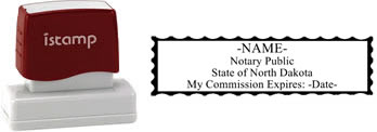 Customize and order a pre-inked notary stamp for the state of North Dakota.  Meets all specifications and requirements for North Dakota notary stamps.