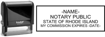 Customize and order a self-inking notary rubber stamp for the state of Rhode Island.  Meets all specifications and requirements for Rhode Island notary stamps.
