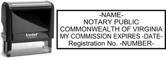 Customize and order a self-inking notary rubber stamp for the state of Virginia.  Meets all specifications and requirements for Virginia notary stamps.