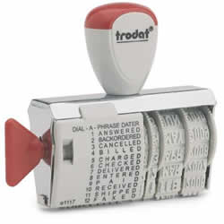 Buy an easy to use changeable date and phrase stamp! Includes PAID, RECEIVED, FAXED, DELIVERED, ENTERED, CHARGED and more!