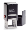 Trodat 4933 custom rubber stamp: Self-inking, medium quality.  Up to 20,000 impressions before needs re-inking.