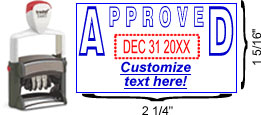 "Buy an ""Approved"" custom date stamp with rotating month, date and year bands. Self-inking stamp with customizable area below date."