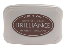 Order a Brilliance metallic chocolate stamp pad.  Vibrant, non-toxic, water-soluble pigment ink.