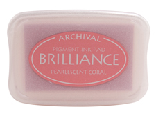 Order a Brilliance metallic coral stamp pad.  Vibrant, non-toxic, water-soluble pigment ink.