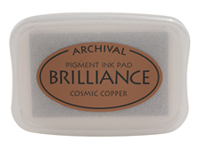Order a Brilliance metallic cosmic copper stamp pad.  Vibrant, non-toxic, water-soluble pigment ink.