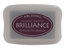 Order a Brilliance Metallic crimson stamp pad.  Vibrant, non-toxic, water-soluble pigment ink.