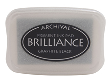 Order a Brilliance Metallic graphite black stamp pad.  Vibrant, non-toxic, water-soluble pigment ink.