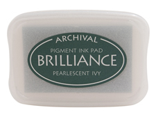 Order a Brilliance Metallic ivy stamp pad.  Vibrant, non-toxic, water-soluble pigment ink.