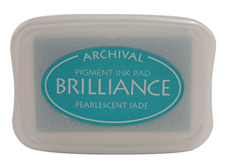 Order a Brilliance Metallic jade stamp pad.  Vibrant, non-toxic, water-soluble pigment ink.