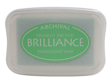 Order a Brilliance Metallic Lime stamp pad.  Vibrant, non-toxic, water-soluble pigment ink