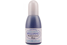 Order a 1/2 oz. bottle of refill ink for a Brilliance Metallic Mediterranean Blue stamp pad.