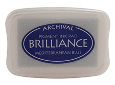 Order a Brilliance Metallic mediterranean blue stamp pad.  Vibrant, non-toxic, water-soluble pigment ink.