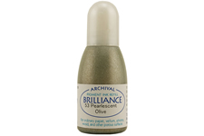 Order a 1/2 oz. bottle of refill ink for a Brilliance Metallic Olive stamp pad.