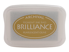 Order a Brilliance Metallic olive stamp pad.  Vibrant, non-toxic, water-soluble pigment ink.