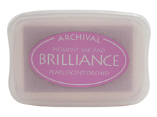 Order a Brilliance Metallic orchid stamp pad.  Vibrant, non-toxic, water-soluble pigment ink.