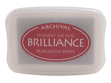 Order a Brilliance Metallic poppy stamp pad.  Vibrant, non-toxic, water-soluble pigment ink.