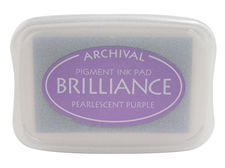 Order a Brilliance Metallic purple stamp pad.  Vibrant, non-toxic, water-soluble pigment ink.