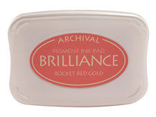 Order a Brilliance Metallic rocket red gold stamp pad.  Vibrant, non-toxic, water-soluble pigment ink.
