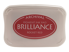 Order a Brilliance Metallic rocket red stamp pad.  Vibrant, non-toxic, water-soluble pigment ink.