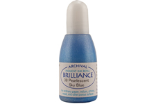 Order a 1/2 oz. bottle of refill ink for a Brilliance Metallic Sky Blue stamp pad.