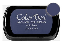 "Purchase a vibrant and archival atlantic blue Colorbox stamp pad. Over 30 colors available!  Non-toxic, archival, acid free, permanent ink pad.  Inked area measures 1 3/4"" x 2 7/8"""