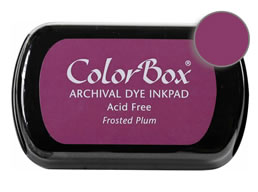 "Purchase a vibrant and archival frosted plum Colorbox stamp pad. Over 30 colors available!  Non-toxic, archival, acid free, permanent ink pad.  Inked area measures 1 3/4"" x 2 7/8"""