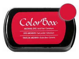 "Purchase a vibrant and archival geranium  Colorbox stamp pad. Over 30 colors available!  Non-toxic, archival, acid free, permanent ink pad.  Inked area measures 1 3/4"" x 2 7/8"""
