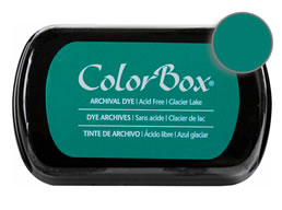 "Purchase a vibrant and archival glacier lake Colorbox stamp pad. Over 30 colors available!  Non-toxic, archival, acid free, permanent ink pad.  Inked area measures 1 3/4"" x 2 7/8"""