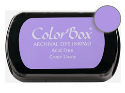 "Purchase a vibrant and archival grape slushy  Colorbox stamp pad. Over 30 colors available!  Non-toxic, archival, acid free, permanent ink pad.  Inked area measures 1 3/4"" x 2 7/8"""