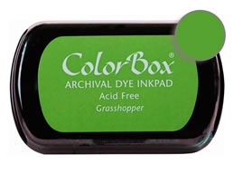 "Purchase a vibrant and archival grasshopper Colorbox stamp pad. Over 30 colors available!  Non-toxic, archival, acid free, permanent ink pad.  Inked area measures 1 3/4"" x 2 7/8"""