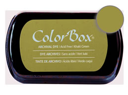 "Purchase a vibrant and archival khaki green  Colorbox stamp pad. Over 30 colors available!  Non-toxic, archival, acid free, permanent ink pad.  Inked area measures 1 3/4"" x 2 7/8"""